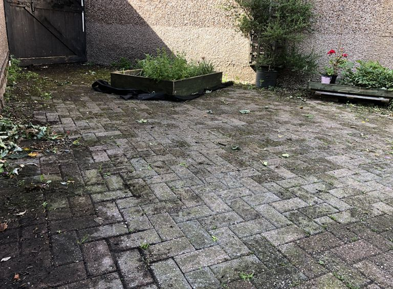 before pressure wash patio service conwy